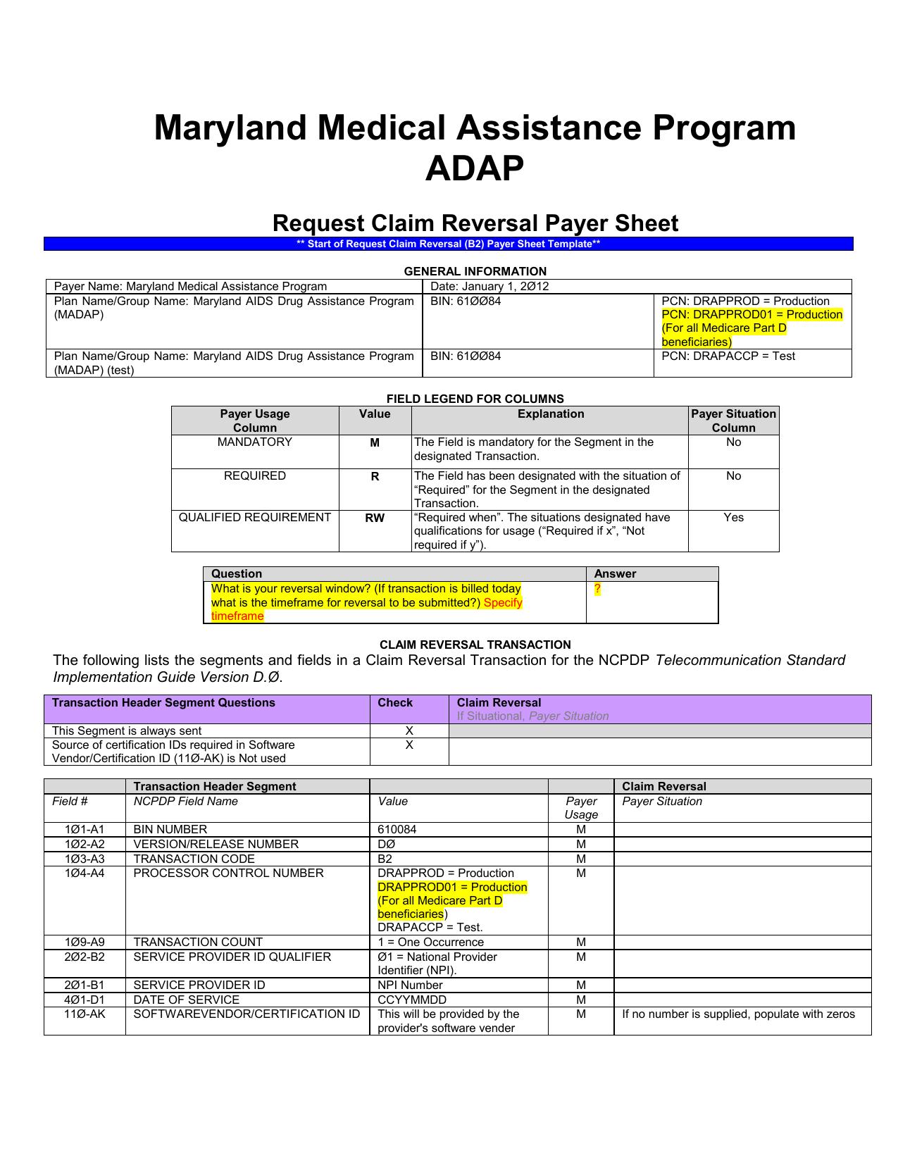D 0 Payer Sheet (Reversal Only)