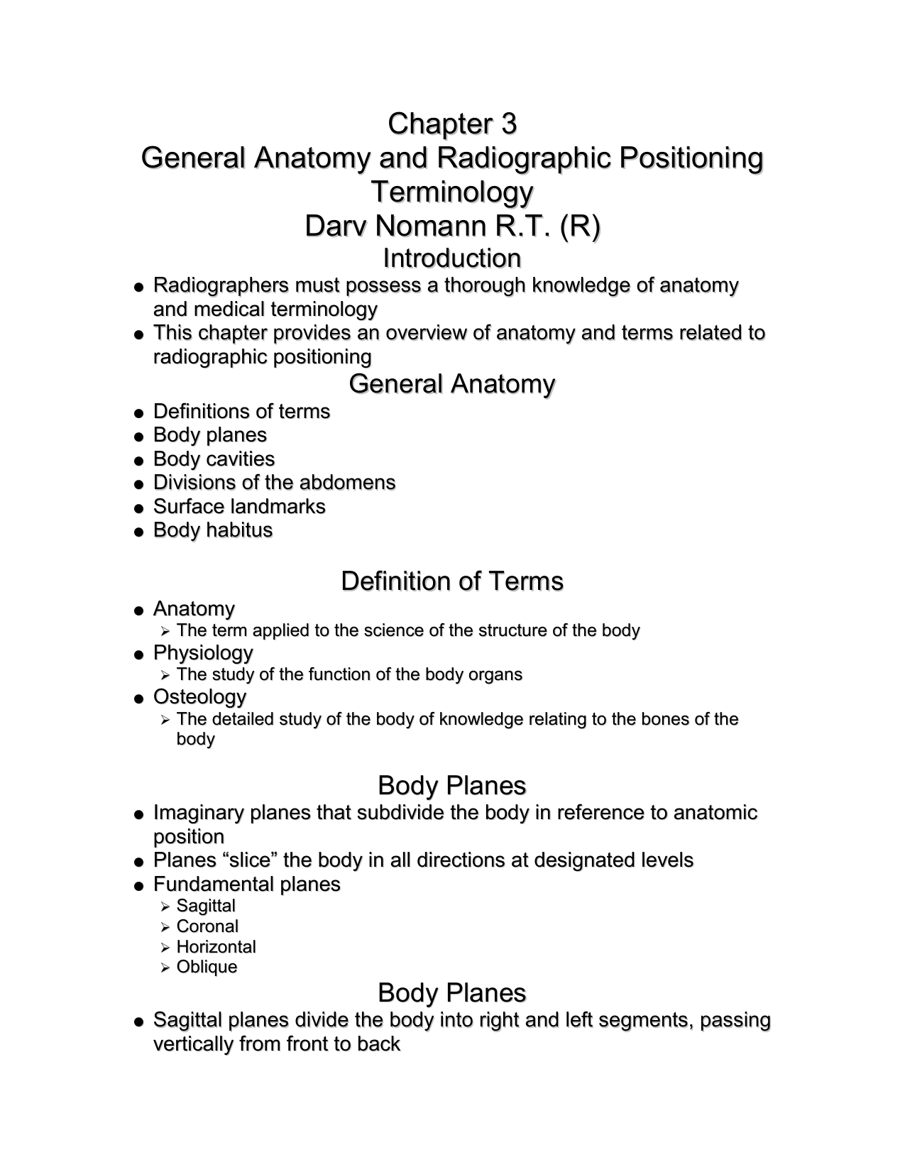 Chapter 3 General Anatomy and Radiographic Positioning