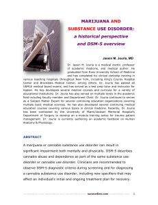 MARIJUANA AND SUBSTANCE USE DISORDER: a historical