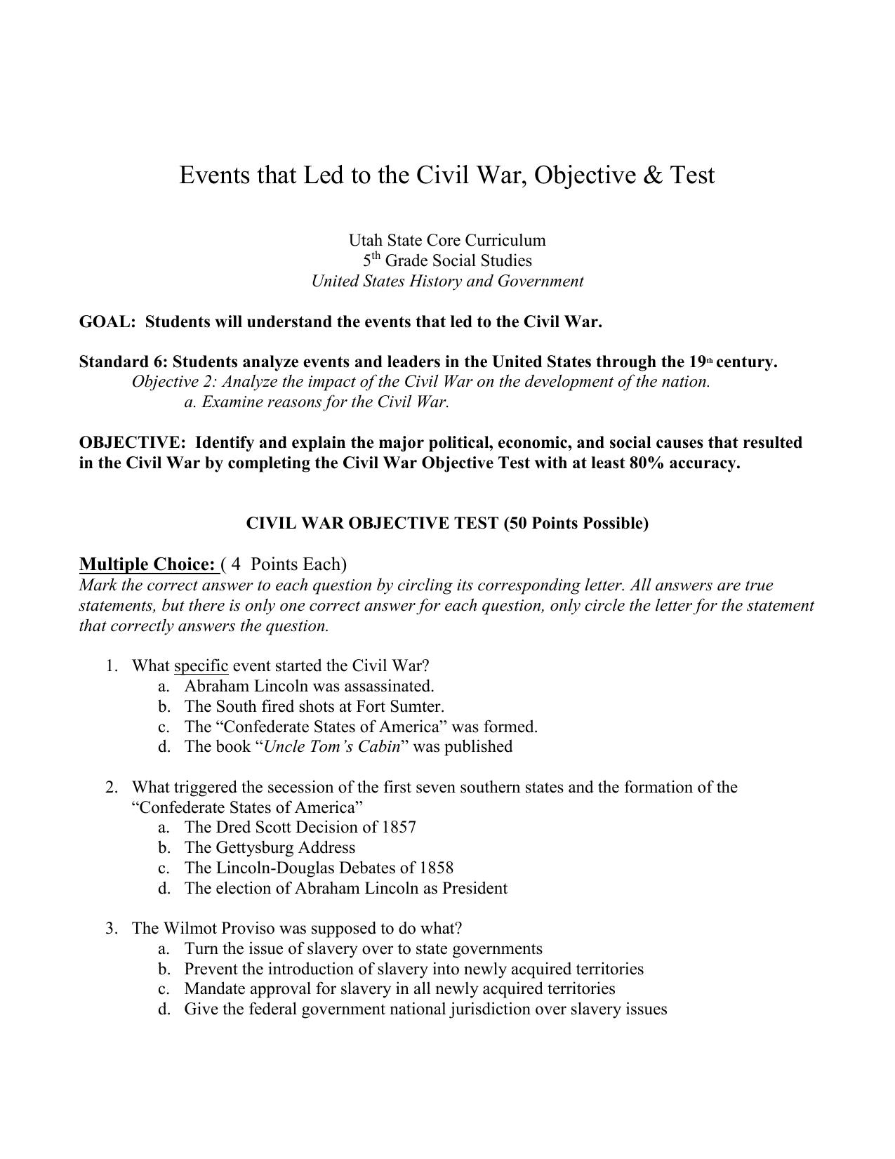 Pre Civil War Objective Test, 5th Grade