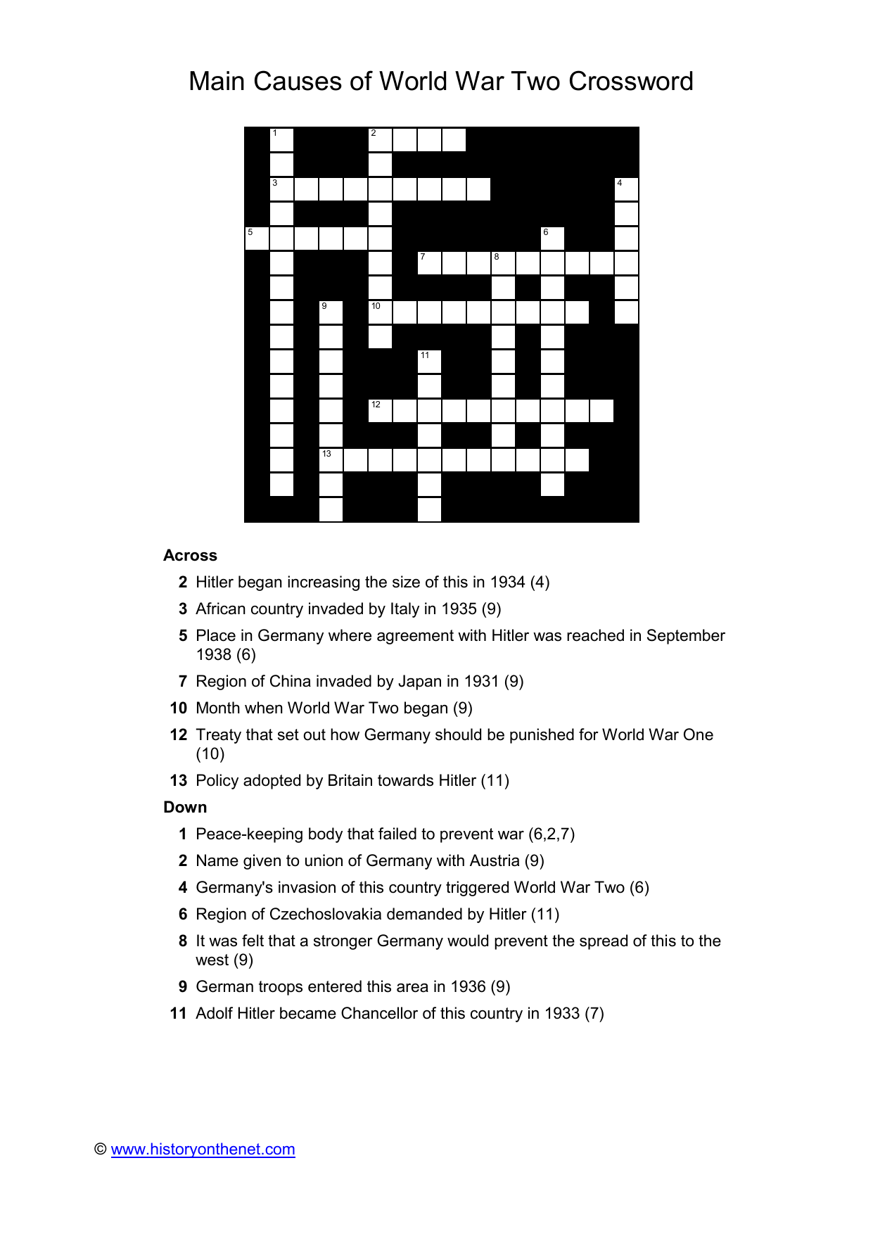 Main Causes of World War Two Crossword