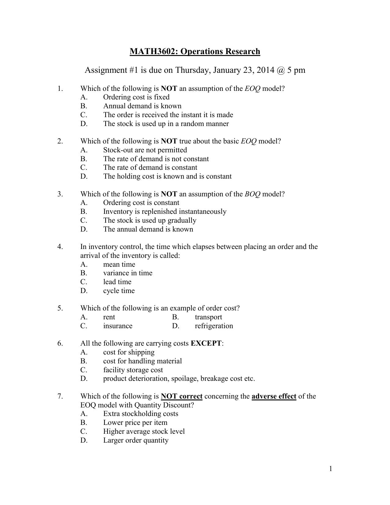 MTH2111: College Algebra