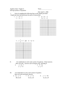Algebra I Quiz Chapter 8