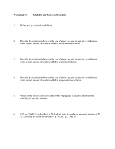 Worksheet # 1 Solubility and Saturated Solutions 1. Define and give