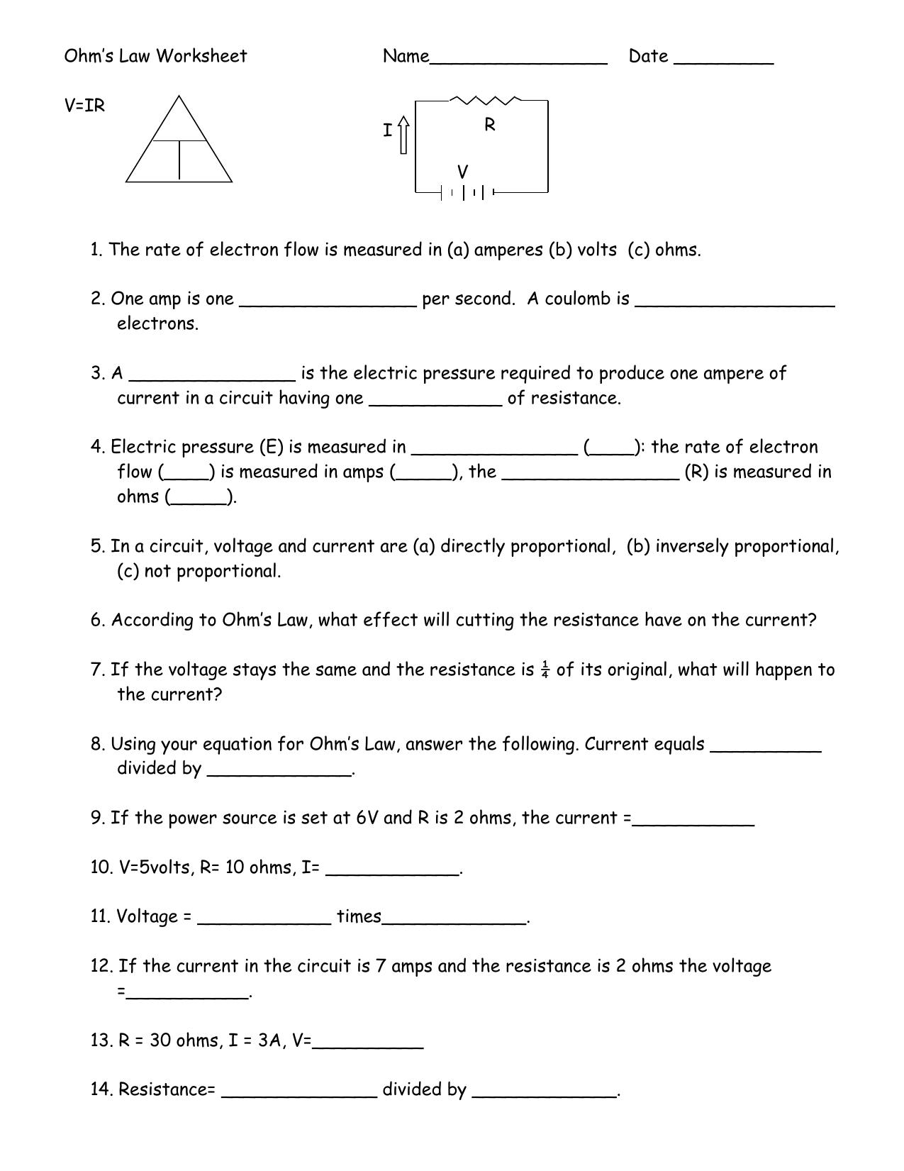 Ohm`s Law Worksheet