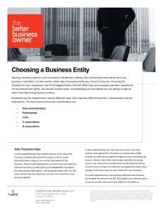 Choosing a Business Entity - Capitol Private Wealth Group