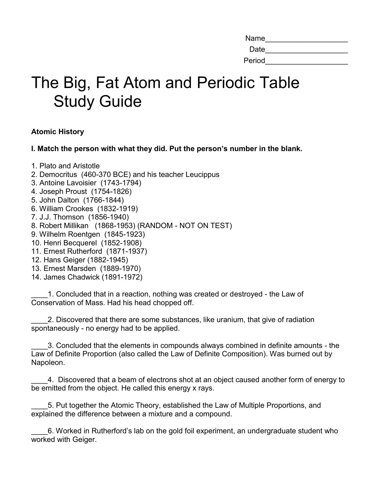 Atom through periodic table study guide urtaz Choice Image
