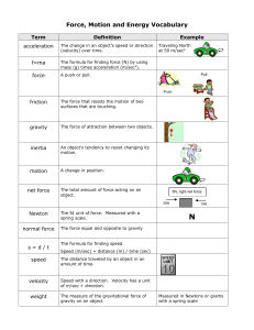 FORCE and MOTION UNIT VOCABULARY