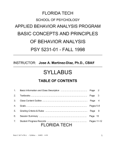 Basic Concepts and Principles of Behavior Analysis (PSY 5231-01)