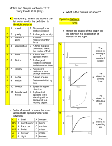 Motion and Simple Machines TEST Study Guide 2014 (Key