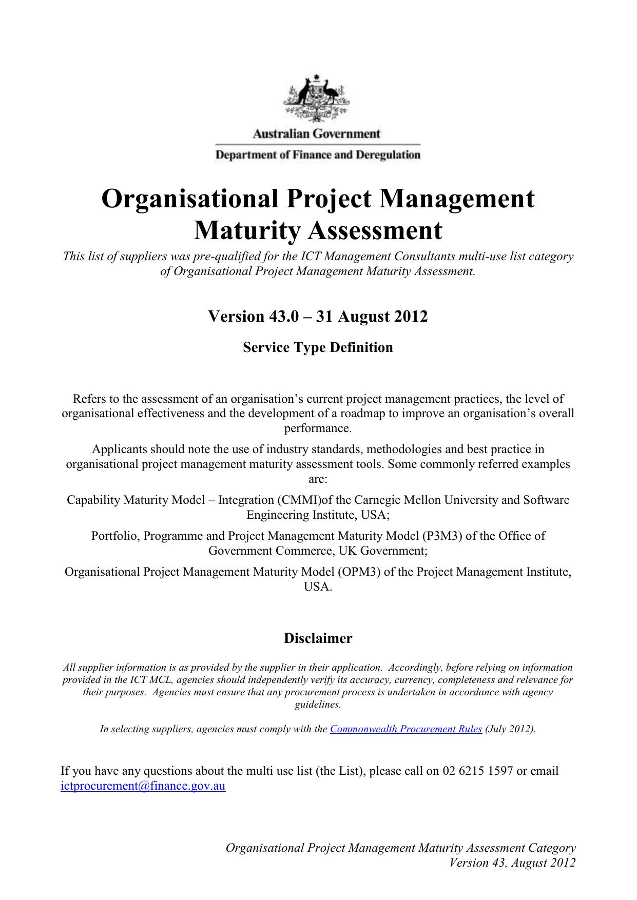Organisational Project Management Maturity Assessment