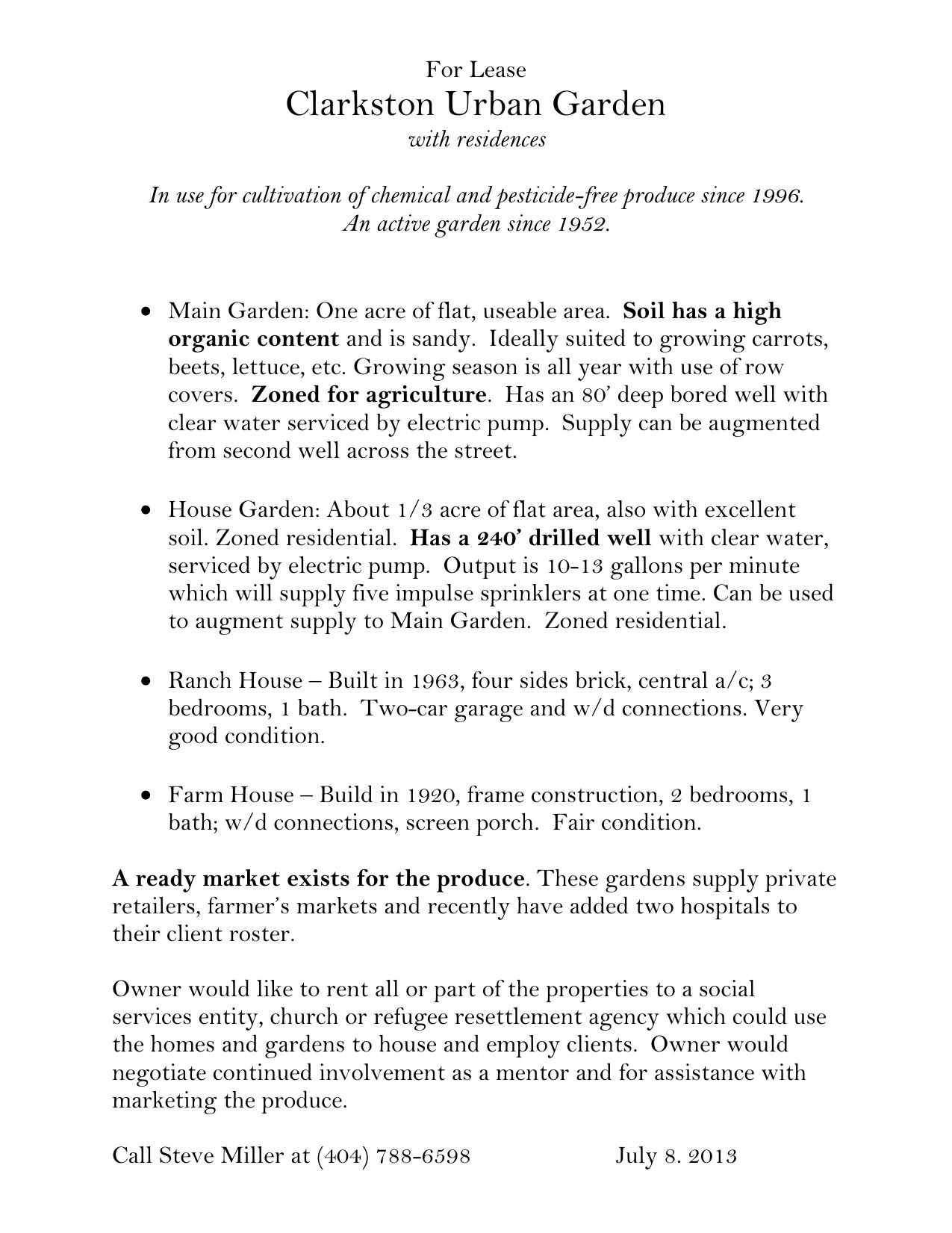 For Lease - Georgia Organics