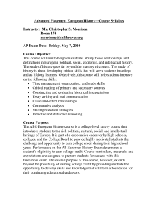 AP European History syllabi 2009