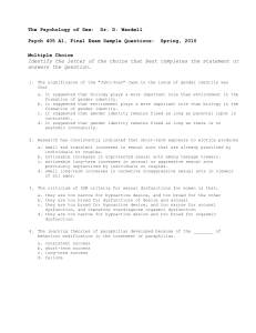 Psych 405 A1, Final Exam Sample Questions: Spring, 2010