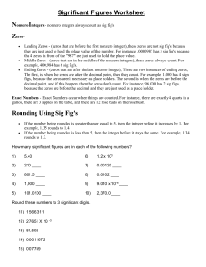 Significant Figures Worksheet