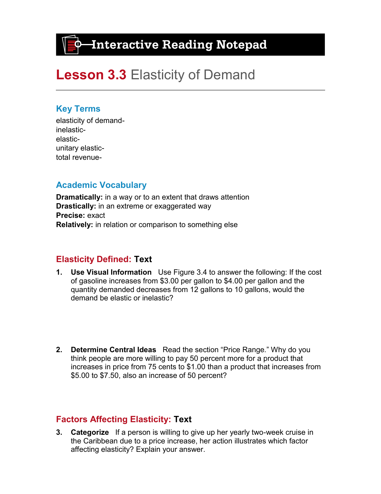 Reading And Note Taking Study Guide