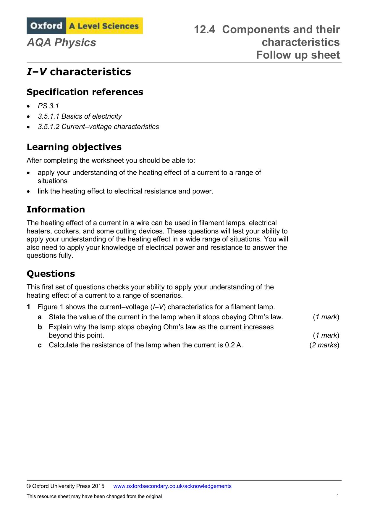 AQA Physics I–V characteristics Specification references PS 3 1 3 5