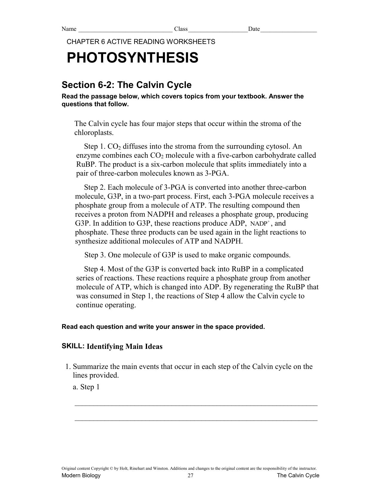 Worksheets Modern Biology Worksheet Answers active reading worksheets
