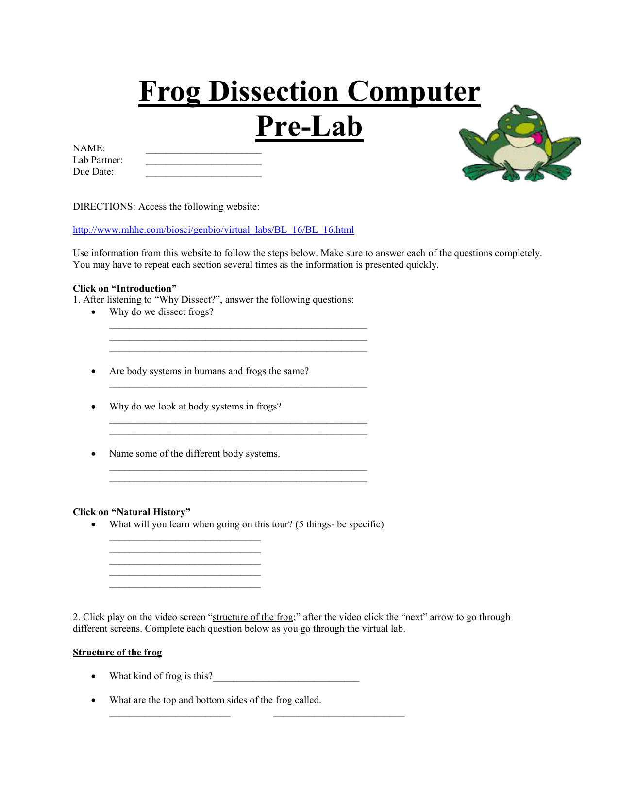Frog dissection worksheet answer key