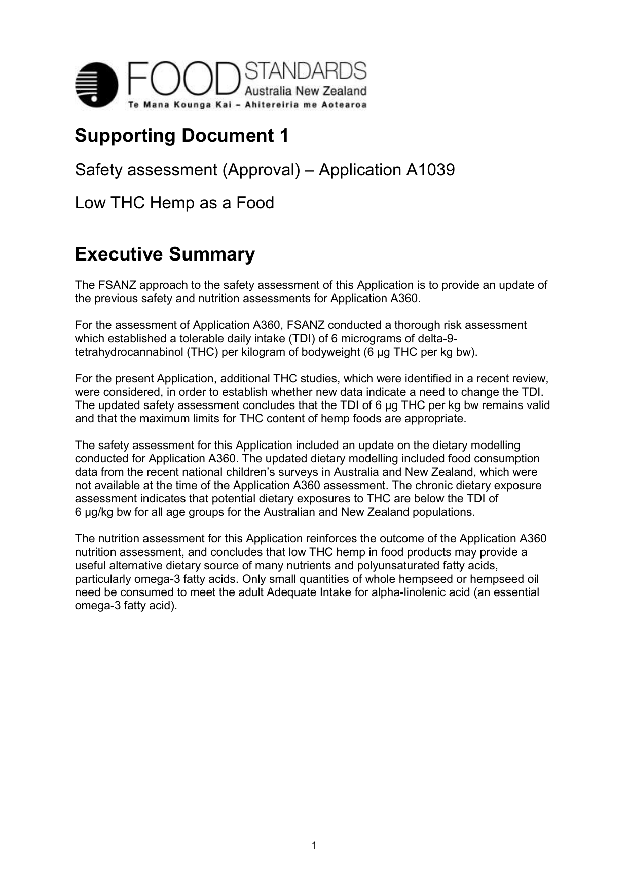 Supporting Document 1 - Food Standards
