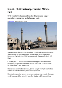 Sunni - Shiite hatred permeates Middle East Civil war in Syria