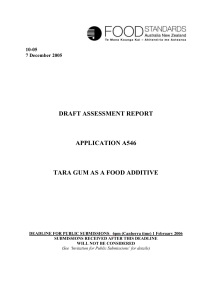 draft assessment report application a546 tara gum as a food additive