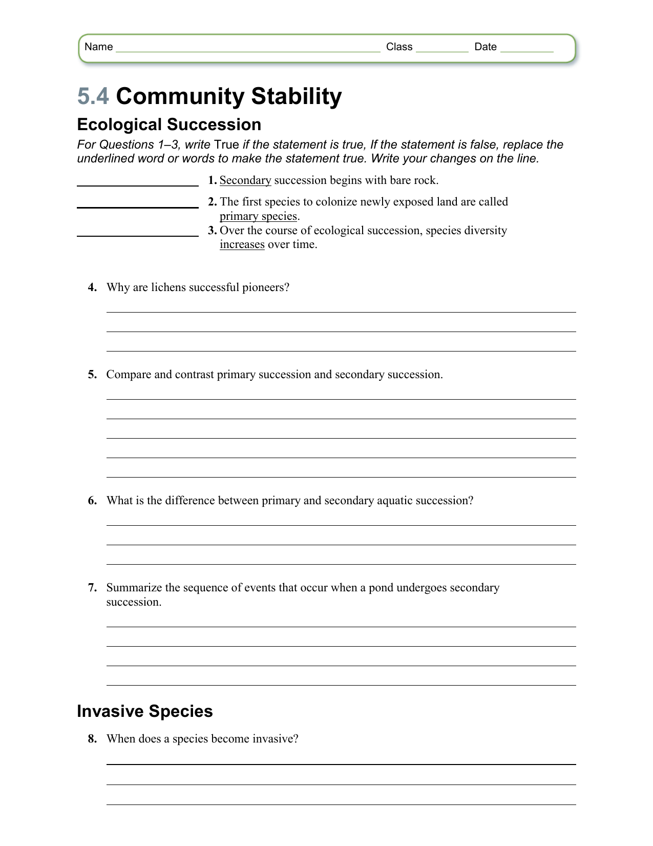 Worksheet Chapter 54 – Ecological Succession Worksheet Answers