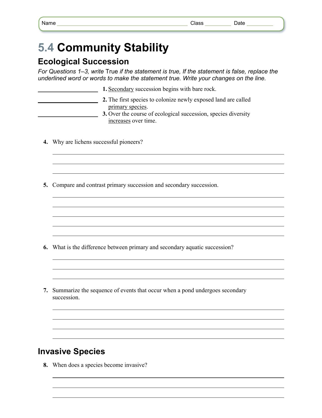 Worksheet Chapter 54 – Ecological Succession Worksheet