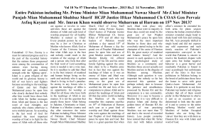 Vol 10 No 57 Thursday 14 November , 2013 Rs.2 14 November, 2013