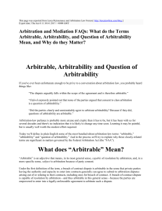 Arbitration and Mediation FAQs: What do the Terms Arbitrable