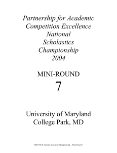 Mini-Round 7 - High School Quizbowl Packet Archive
