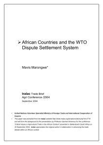 African Countries and the WTO Dispute Settlement System Mavis