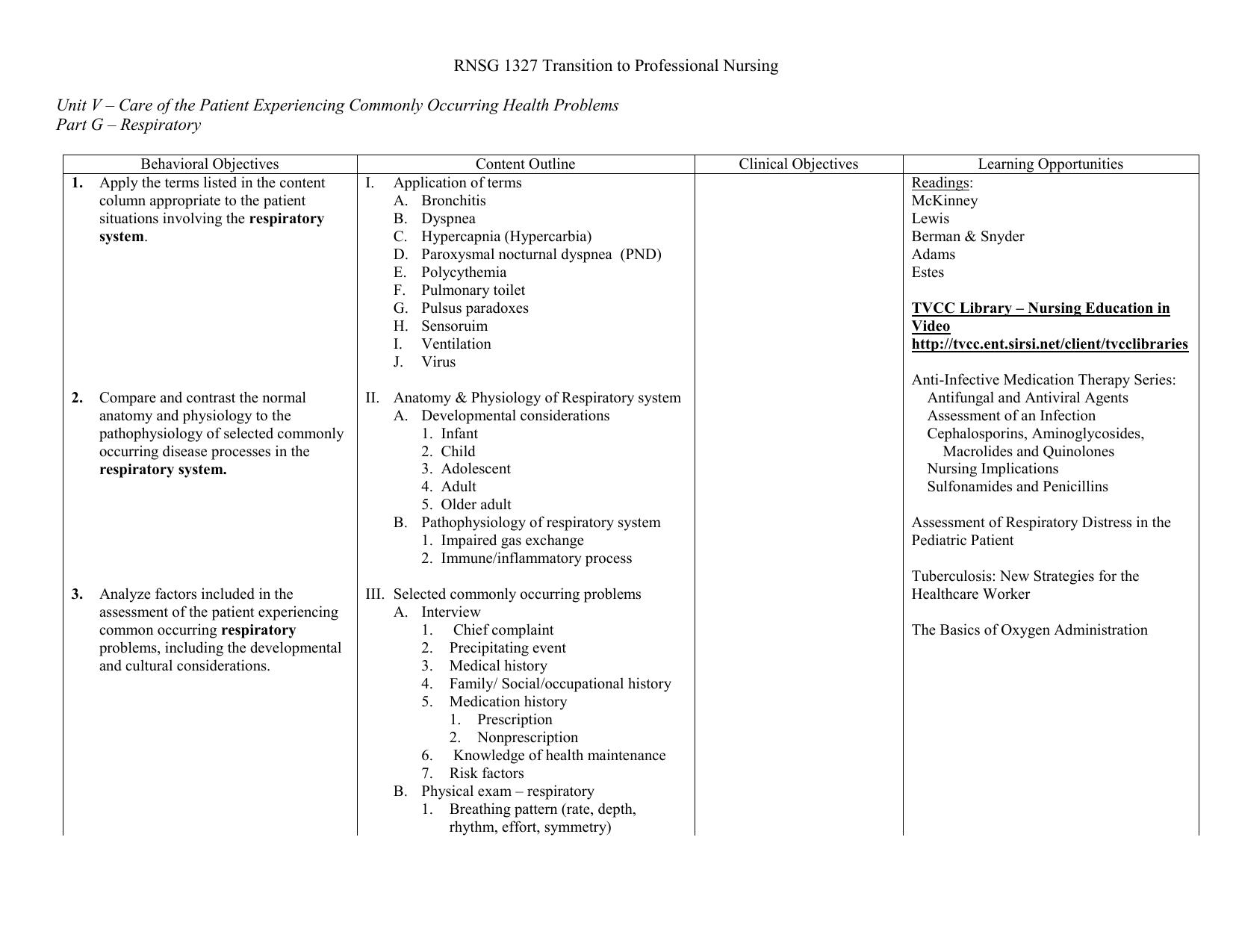 Part G: Respiratory System