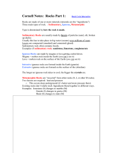 Cornell Notes: The Rock Cycle - CGW-Life-Science