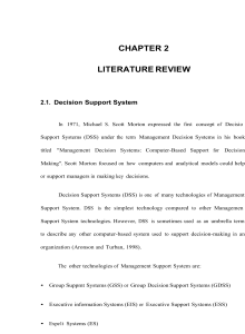 CHAPTER 2 LITERATURE REVIEW 2.1. Decision Support System
