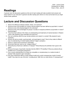 S324 - Lecture Guide Perspectives on Illness Class 2, Wed., June