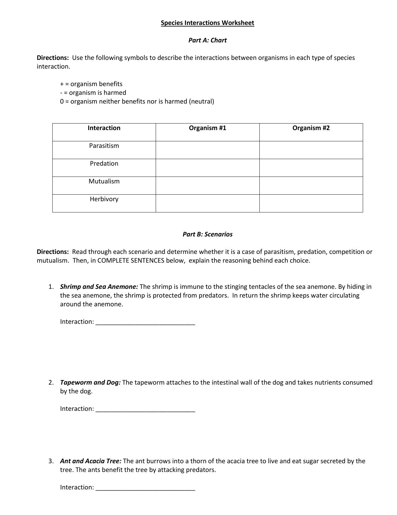 Species Interaction Worksheet