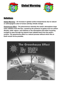 Global Warming Definitions Global Warming – An increase in global