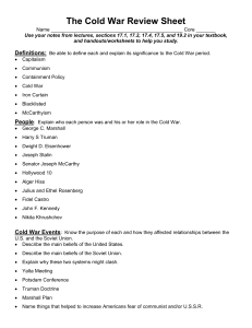The Cold War Review Sheet - wyhs-ap-euro