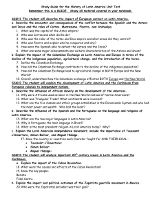 Study Guide for History of Latin America Unit Test