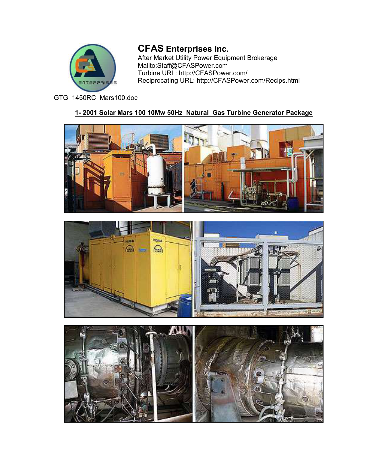 Supply of Solar Mars 100 Gas Turbine Generator Package