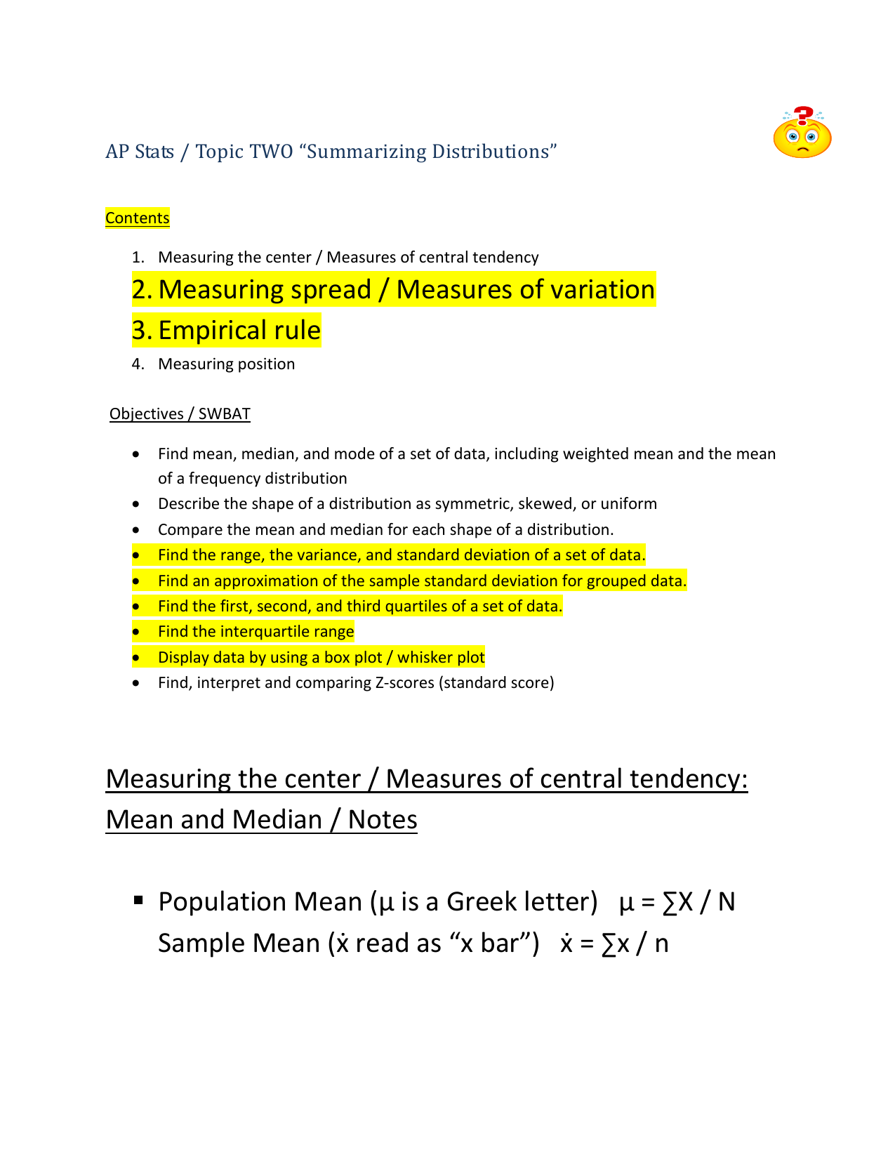 ap stats topic two summarizing distributions contents