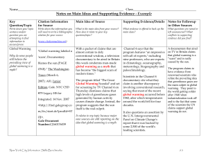 Notes on Main Ideas and Supporting Evidence