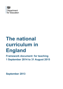 The National Curriculum - Alvanley Primary School