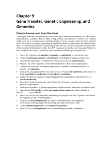 Chapter 9: Gene Transfer, Genetic Engineering, and Genomics