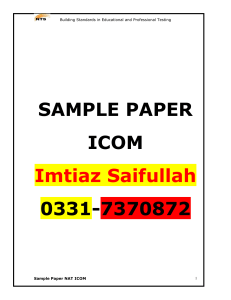 Sample Paper SESE Science