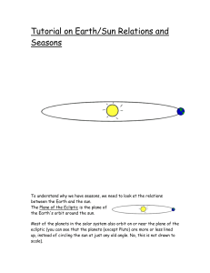 Tutorial on Earth/Sun Relations and Seasons
