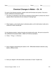 Chemical Changes in Matter Worksheet