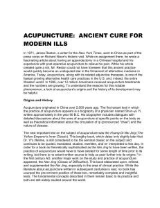 ACUPUNCTURE: ANCIENT CURE FOR MODERN ILLSBy Honora