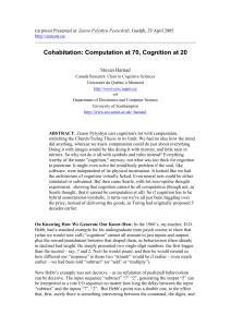 Cohabitation: Computation at 70, Cognition at 20